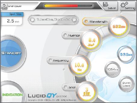 BISON Lucid QY lézer kezelőfelület